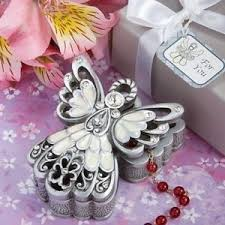 christening party favors 40 silver ivory angel rosary jewelry box baptism christening party