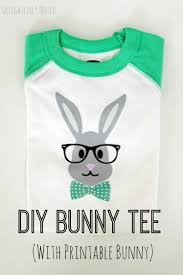 diy hipster bunny tee with free printable iron on bunny free