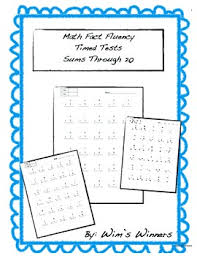 math fact fluency timed test addition sums through 20 by the