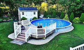 Where To Put A Pool In Your Backyard Semi Inground Pool Photos The Pool Factory