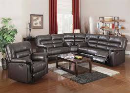 neon 3 piece reclining sectional in dark brown leather by acme