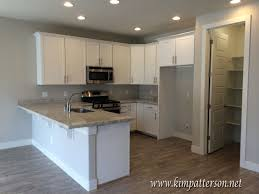backsplash kitchen white cabinets gray walls antique white