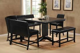 Square Kitchen Table With Bench Leather L Shaped Bench With Back Varnished Cherry Dining Table