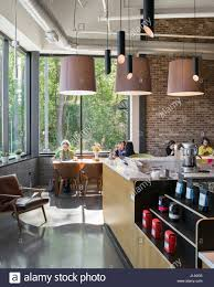 interior view of the glassbox cafe with a view of the adjacent