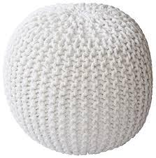 knit home decor pouf ottoman in white u2013 hand knit cotton yarn u2013 home décor buy