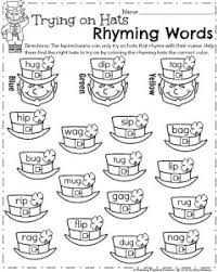 march kindergarten worksheets rhyming words worksheets and