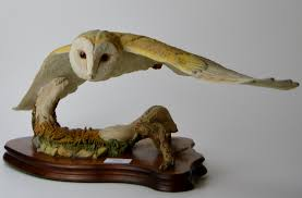 wildtrack wildlife barn owl ornament on wooden stand signed ivey