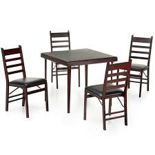 Kitchen Folding Table And Chairs - cosco 5 piece bridgeport 32 inch wood folding card table set