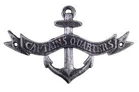 wholesale antique silver cast iron anchor captains quarters sign 8