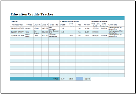 Tracking Sheet Excel Template Ms Excel Education Credits Tracker Template Excel Templates