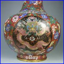 Antique Cloisonne Vases Mirror Pair Of Antique Chinese Cloisonne Red Ground Vases With