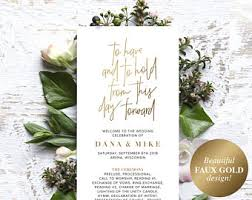 gold wedding programs gold wedding program etsy