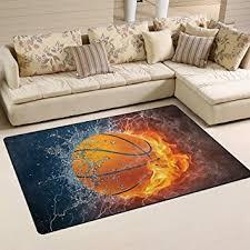 sport en chambre x naanle ballon de basket en feu et l eau antidérapant zone tapis pour