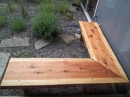 handmade outdoor redwood slab corner benches by alexis iliinsky