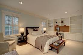 Bookshelves And Desk Built In by Traditional Master Bedroom With Crown Molding U0026 Built In Bookshelf