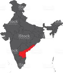Hyderabad India Map by Andhra Pradesh Red On Gray India Map Vector Stock Vector Art