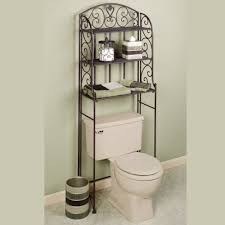 Bronze Bathroom Shelves Black Metal Carving Toilet Cabinet With Shelves White