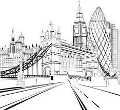 coloriage de londres tower bridge big ben et la city ville