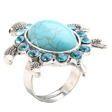 natural stone rings images Natural stone turquoise turtle ring jungle of jewels jpg