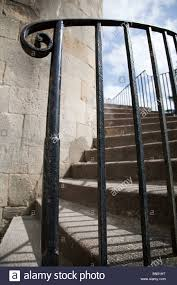 Wrought Iron Banister Rails Stone Steps With Wrought Iron Hand Rails Clifton England Stock