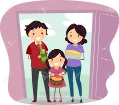 house warming presents illustration of a family carrying housewarming presents stock