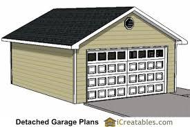 2 Car Detached Garage 20x24 1 Car Detached Garage Plans Download And Build