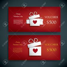 valentines day gift voucher or coupon with presents and hearts