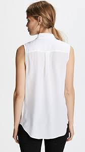 white sleeveless blouse equipment sleeveless slim signature blouse shopbop