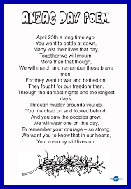thank a digger anzac poems to pass on activities and