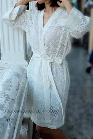 white honeymoon lace robe for getting ready bridal gift