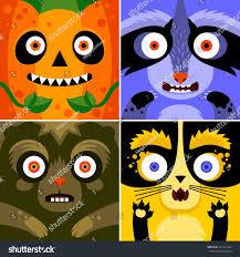 Cute Halloween Monster by Cartoon Monster Animals Faces Vector Set Stock Vector 331217234