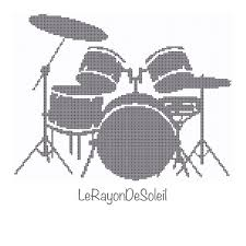 drum knitting pattern modern cross stitch pattern drums cymbal drumsticks