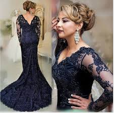 long mermaid lace prom dresses vintage navy blue lace mother