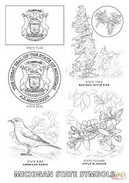 michigan state symbols coloring page free printable coloring pages