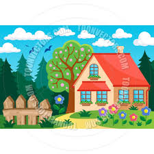cartoon garden and house theme background by clairev toon