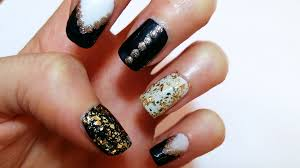 black gold u0026 white nail art design tutorial unghie in nero oro