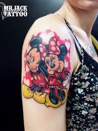 cool cartoon tattoos tattoo mickey mouse minnie mouse shoulder tattoo tattoo for