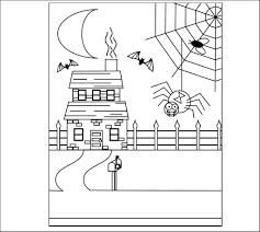 spider and haunted house free printable coloring pagejpeg on
