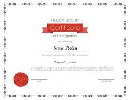 template for certificate of participation certificate of