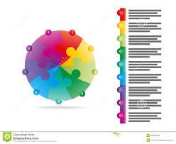 rainbow spectrum colored nine sided arrow puzzle presentation