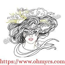 henna sun and moon embroidery design