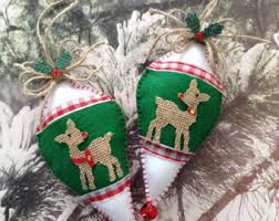 Green Reindeer Christmas Decorations by Felt Ornament Etsy