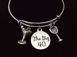 birthday charm bracelet the big 40 happy 40th birthday expandable charm bracelet with