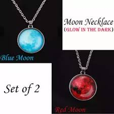 blue moon necklace images Glow in the dark moon necklace set of 2 red moon blue moon webp