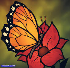 butterfly on flower drawing how to draw butterfly realistically on
