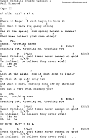 The Sweet Home Sheets Song Lyrics With Guitar Chords For Sweet Caroline Learn Guitar