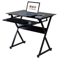 Computer Desk Tray Onespace 50 Jn1205 Ultramodern Glass Computer Desk With Pull Out