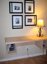 Floating Wall Desk Home Design Floating Desk With Hutch Made Of Wood In White