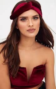 velvet headband burgundy velvet headband accessories prettylittlething usa