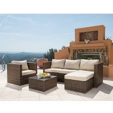 corvus trey 6 piece brown wicker patio furniture set free